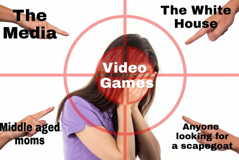 dank memes about the video games being blamed by the media, middle aged moms, the white house and anyone looking for a scapegoat
