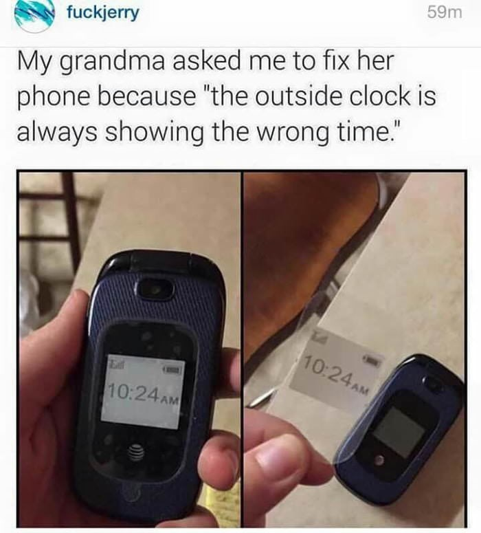 meme of grandma not being able to fix her phone sticker