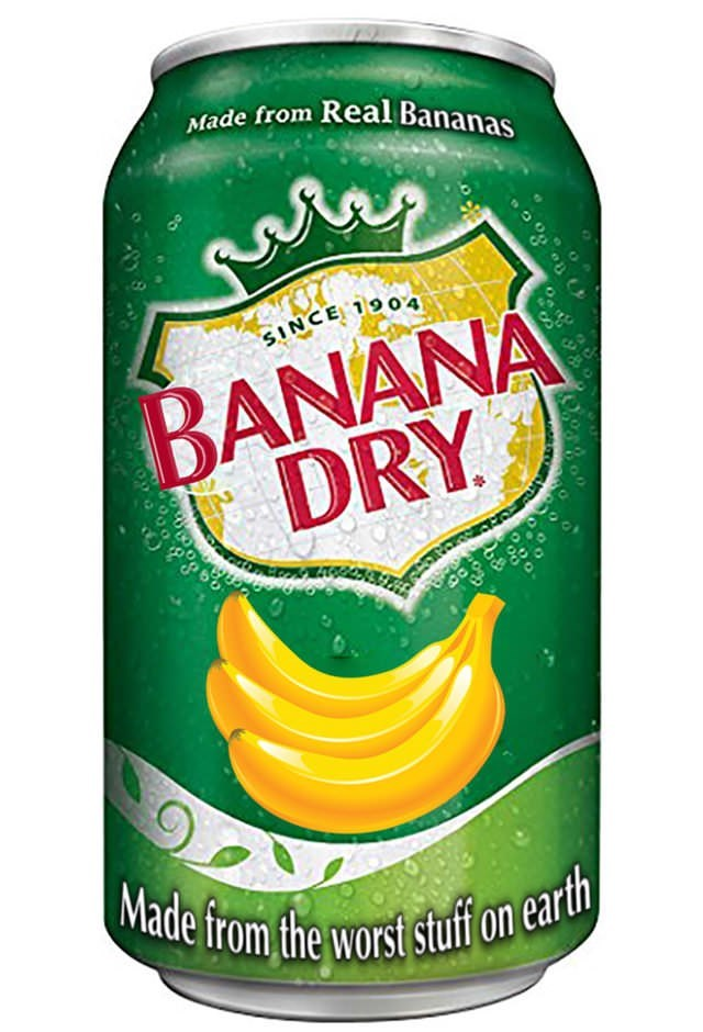 banana dry ginger ale style soda can