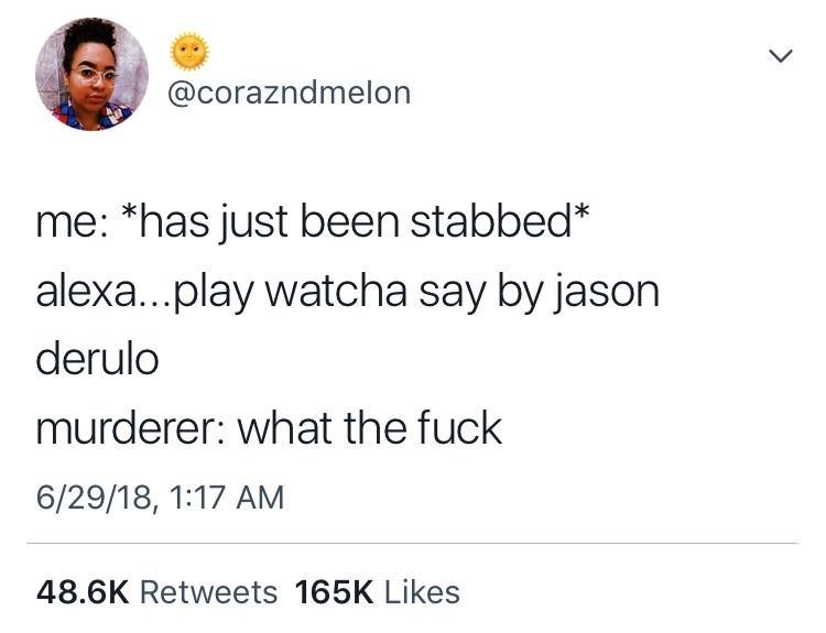 dank meme about being stabbed and requesting murderer puts on music