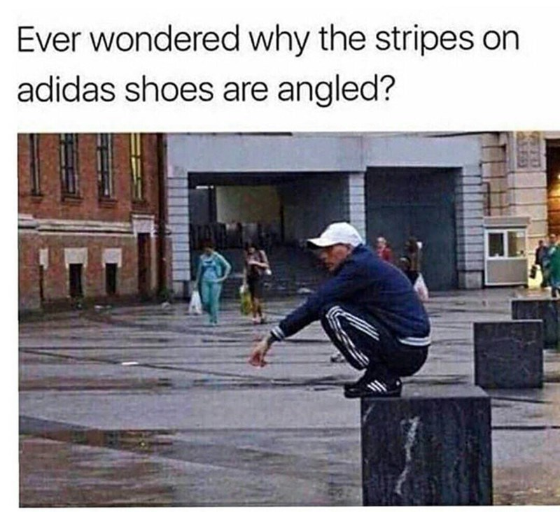 meem about the stripes of adidas shoes