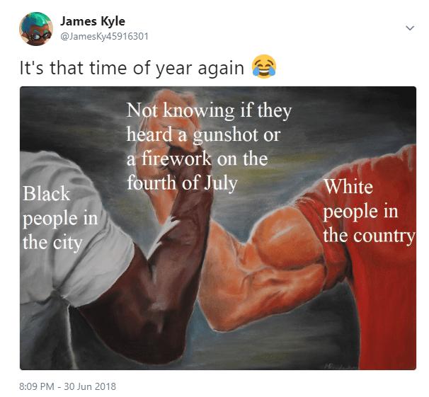 epic handshake meme about gunshots and fireworks noises