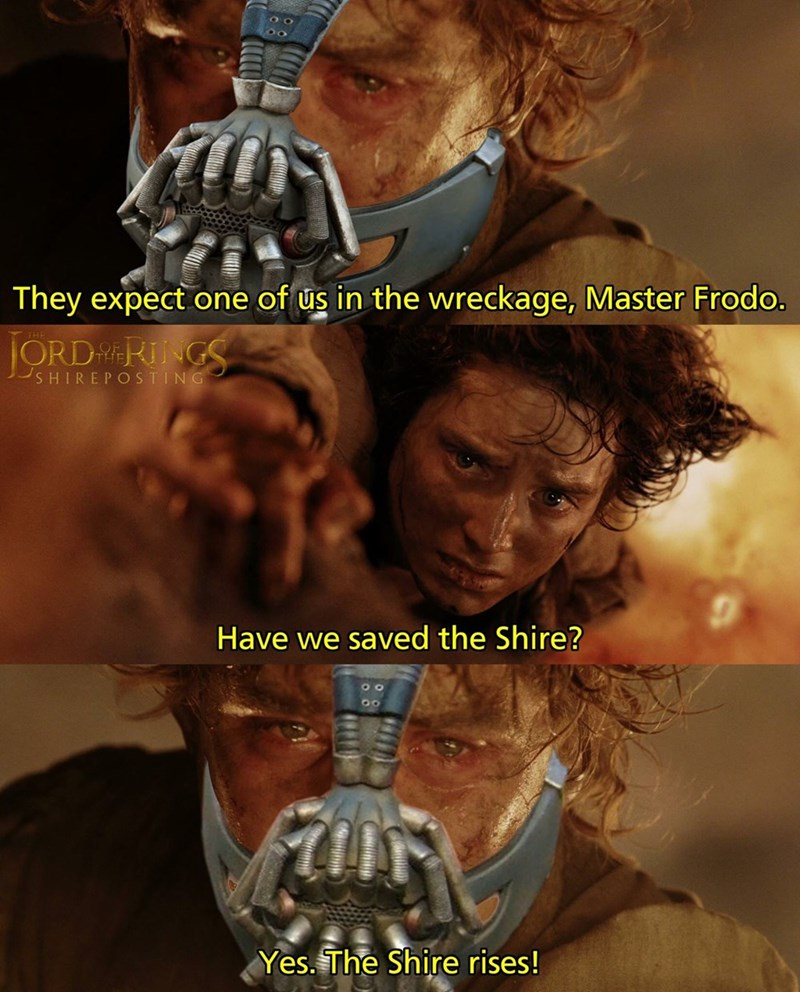 Poster - They expect one of us in the wreckage, Master Frodo. ORDRNGS SHIREPOSTING Have we saved the Shire? Yes.The Shire rises!