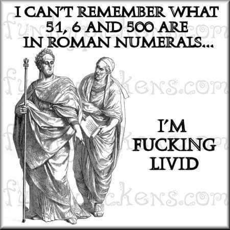 Text - I CANT REMEMBER WHAT 51, 6 AND 500 ARE IN ROMAN NUMERAIS... eNS.Cor I'M FUCKING LIVID keNs.com GNS.COm