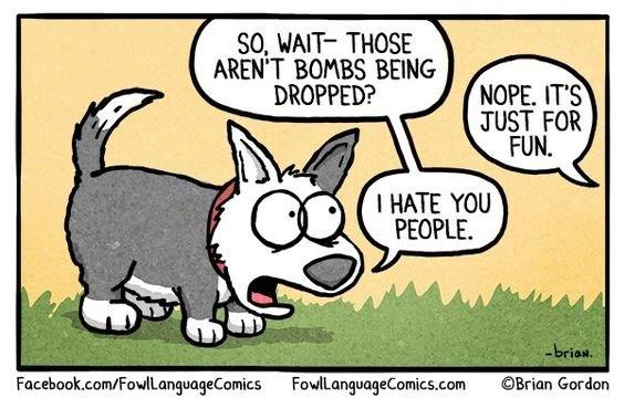 Cartoon - SO, WAIT- THOSE AREN'T BOMBS BEING DROPPED? NOPE. IT'S JUST FOR FUN I HATE YOU PEOPLE -brian. Facebook.com/FowlLanguageComics FowlLanguageComics.com OBrian Gordon