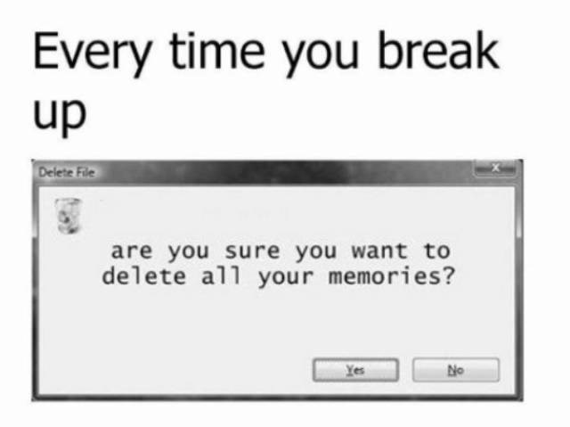 Text - Every time you break up Delete File are you sure you want to delete all your memories? No Yes