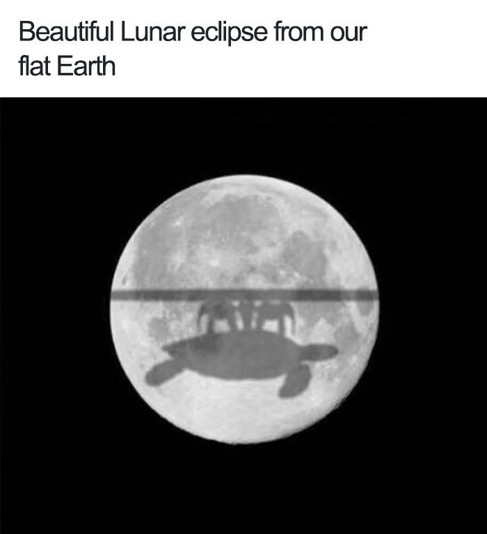 photoshopped pic of a lunar eclipse with the flat earth's shadow falling on the moon