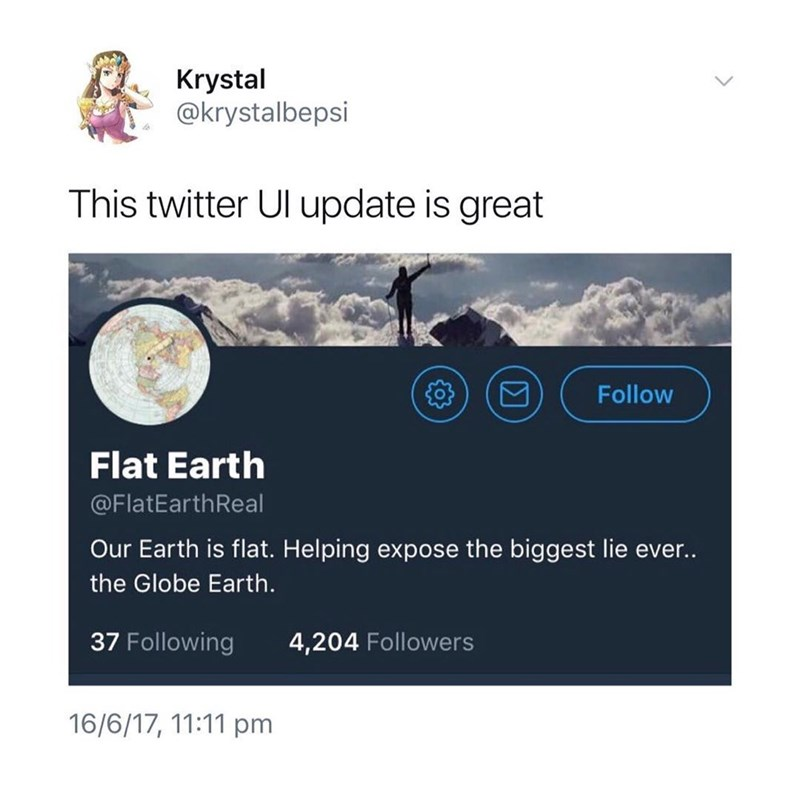 screen grab of a flat earth Twitter account with its profile pic ironically cropped into a globe earth