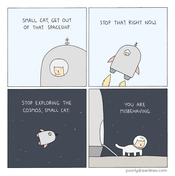 funny comic - Cartoon - SMALL CAT, GET OUT STOP THAT RIGHT NOW OF THAT SPACESHIP. STOP EXPLORING THE YOU ARE COSMOS,SMALL CAT MISBEHAVING poorlydrawnlines.com O0
