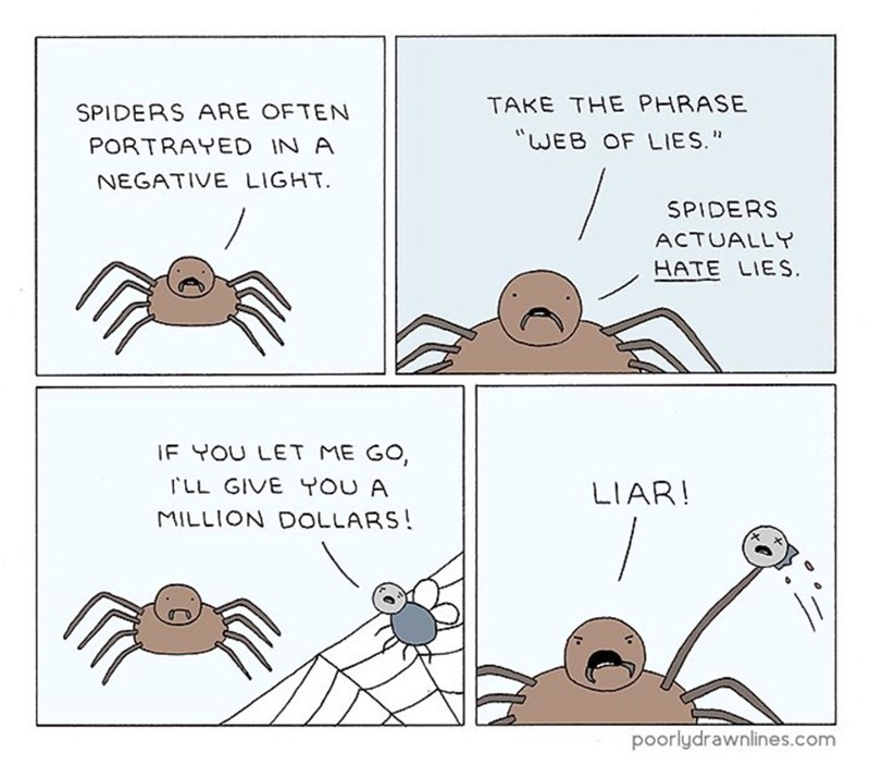 """funny comic - Cartoon - TAKE THE PHRASE SPIDERS ARE OFTEN """"WEB OF LIES."""" PORTRAYED IN A NEGATIVE LIGHT SPIDERS ACTUALLY HATE LIES IF YOU LET ME GO, rLL GIVE YOU A LIAR! MILLION DOLLARS! poorlydrawnlines.com"""