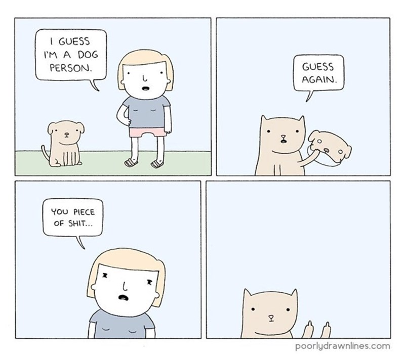 funny comic - Text - I GUESS IM A DOG GUESS PERSON. AGAIN YOu PIECE OF SHIT.. poorlydrawnlines.com