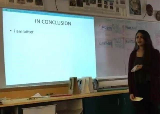 Presentation - IN CONCLUSION FOR i am bitter