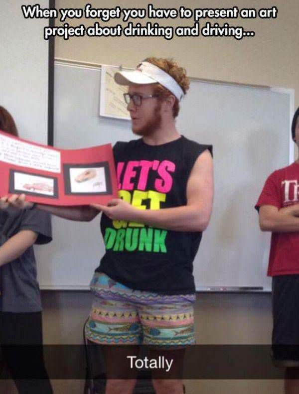 T-shirt - When you forget you have to present an art project about drinking and driving... ETS DRUNK Totally