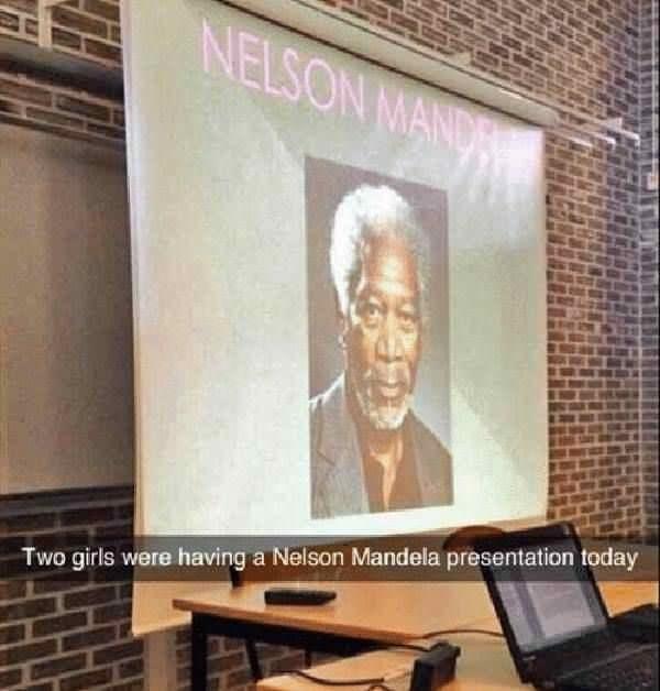 Property - NELSON MAND Two girls were having a Nelson Mandela presentation today