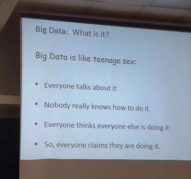 Text - Big Data: What is it? Big Data is like teenage sex: Everyone talks about it Nobody really knows how to do it Everyone thinks everyone else is doing it So, everyone claims they are doing it.