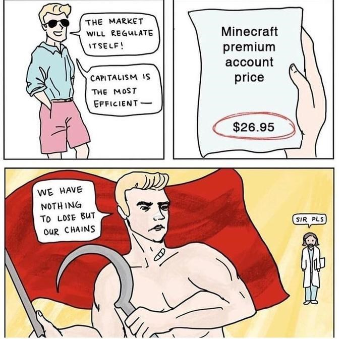 Man says the market will regulate itself, is presented with a Minecraft premium account price of $26.95 and then becomes a communist