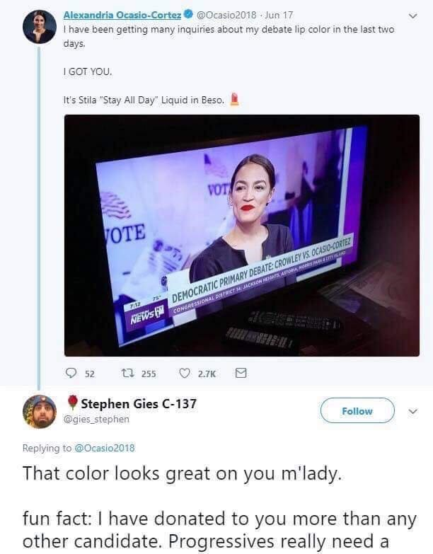 """cringe neckbeard logic - Product - Alexandria Ocasio-Cortez I have been getting many inquiries about my debate lip color in the last two @Ocasio2018 Jun 17 days. IGOT YOU It's Stila """"Stay All Day"""" Liquid in Beso."""