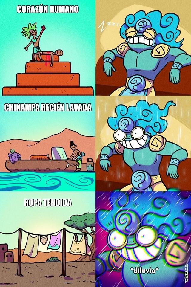 vineta de PedroLarezIlustrador sobre el dios de la lluvia