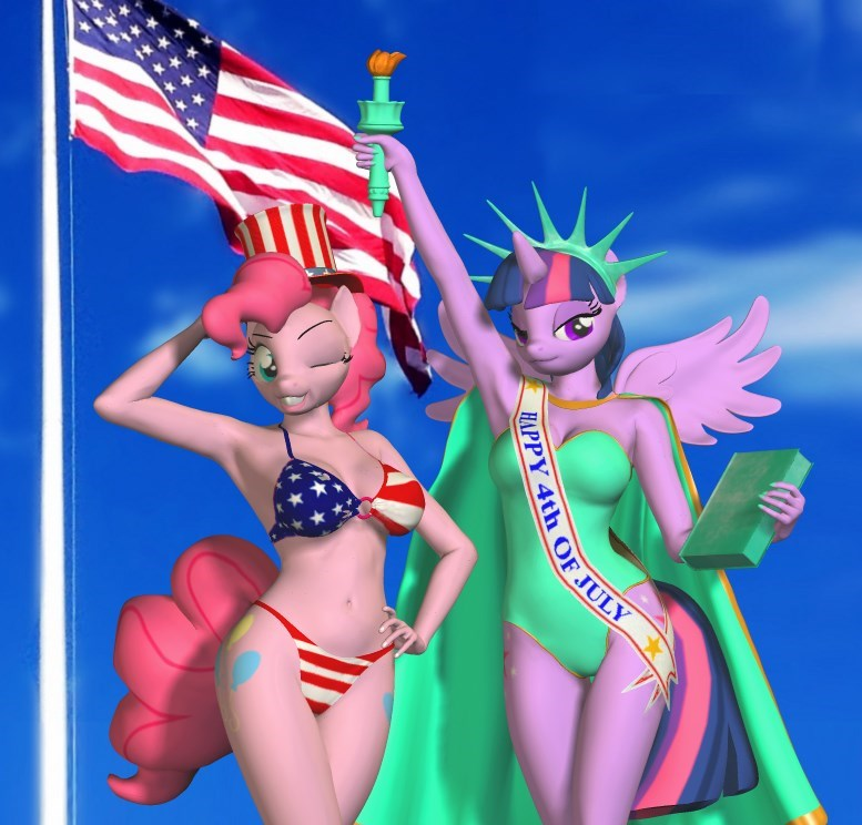 twilight sparkle pinkie pie Statue of Liberty parsnip 3d fourth of july america anthropomorphic - 9185117952