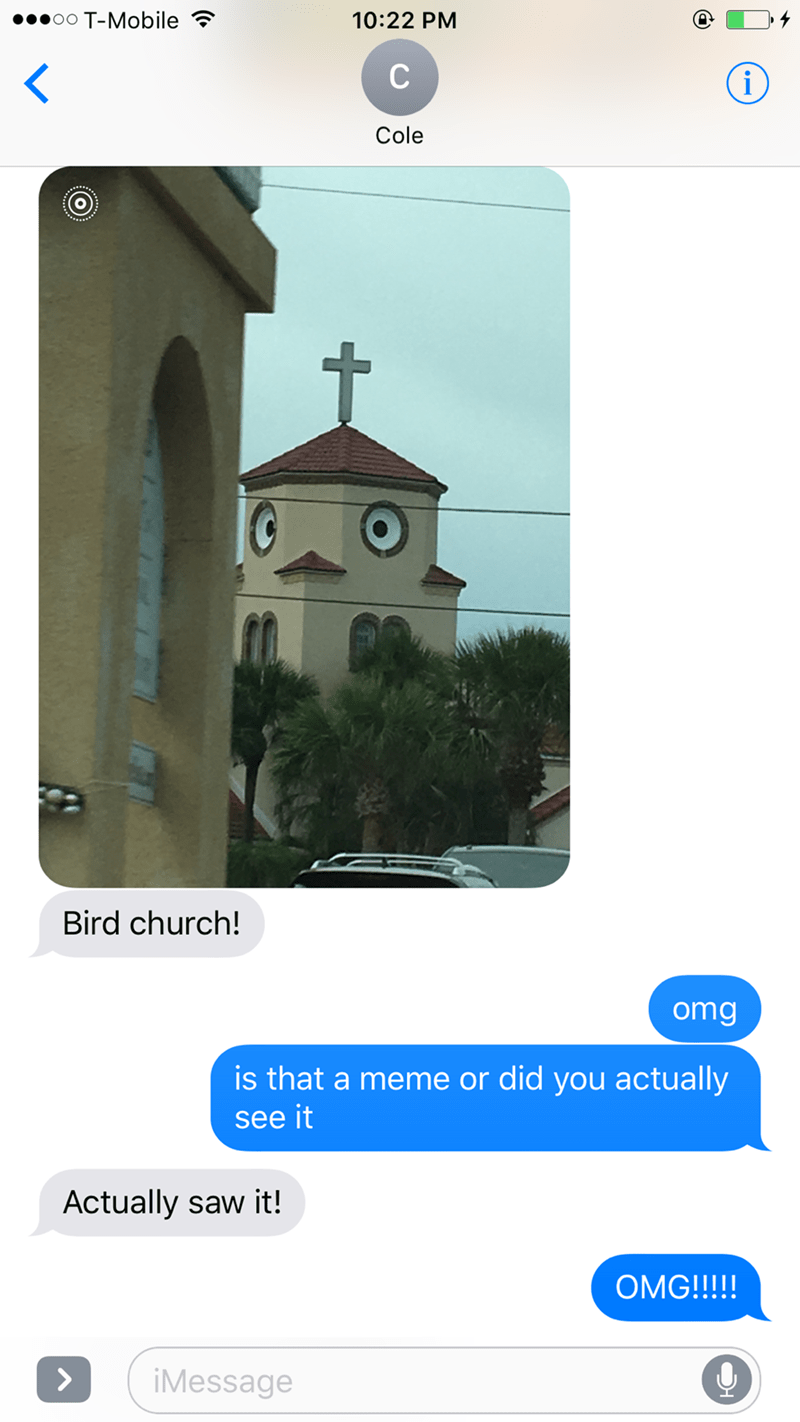 Architecture - oo T-Mobile 10:22 PM C i Cole Bird church! omg is that a meme or did you actually see it Actually saw it! OMG!!!!! > iMessage