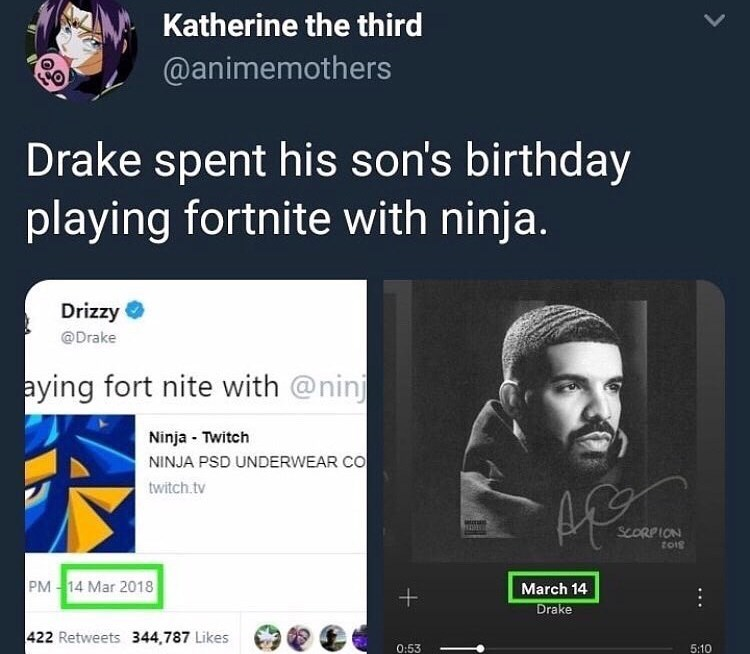 Text - Katherine the third @animemothers Drake spent his son's birthday playing fortnite with ninja. Drizzy @Drake aying fort nite with @ninj Ninja Twitch NINJA PSD UNDERWEAR CO twitch.tv ata SCORPION tois PM 14 Mar 2018 March 14 Drake 422 Retweets 344,787 Likes 0:53 5:10 ++