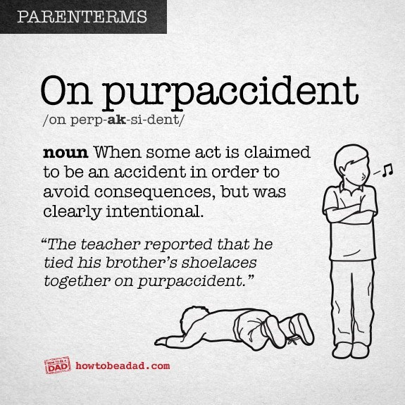 """Text - PARENTERMS On purpaccident /on perp-ak-si-dent/ noun When some act is claimed to be an accident in order to avoid consequences, but was clearly intentional. """"The teacher reported that he tied his brother's shoelaces together on purpaccident. DAD howtobeadad .com"""