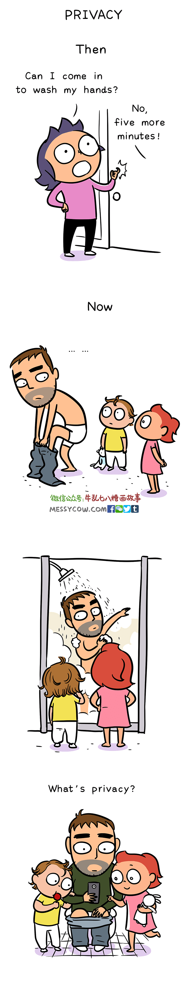 Cartoon - PRIVACY Then Can I come in to wash my hands? No, five more minutes! Now 做信公众号:牛乱もハ糟画故事 MESSYCOW.COM®9t ....! What's privacy?