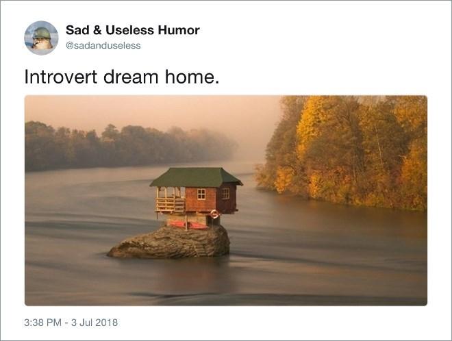 Natural landscape - Sad & Useless Humor @sadanduseless Introvert dream home. 3:38 PM 3 Jul 2018 FR