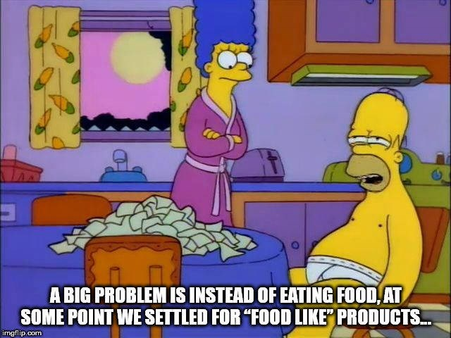 """Cartoon - A BIG PROBLEM IS INSTEAD OF EATING FOOD AT SOME POINT WE SETTLED FOR """"FOOD LIKE PRODUCTS. imgflip.com"""