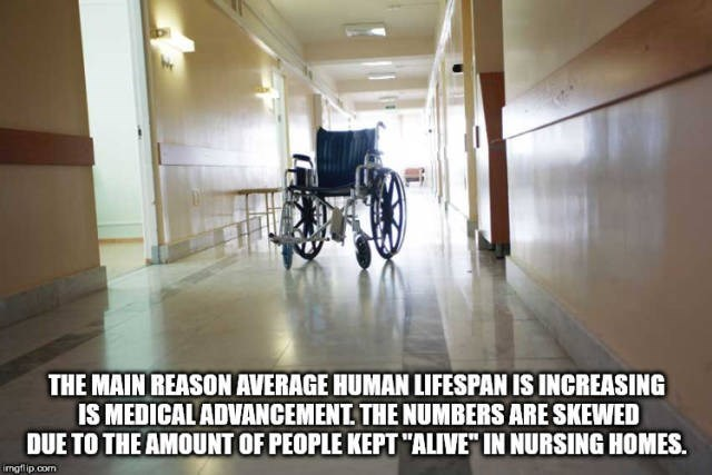 """Floor - THE MAIN REASON AVERAGE HUMAN LIFESPAN IS INCREASING IS MEDICALADVANCEMENT THE NUMBERS ARE SKEWED DUE TO THE AMOUNT OF PEOPLE KEPT """"ALIVE"""" IN NURSING HOMES imgfip.com"""