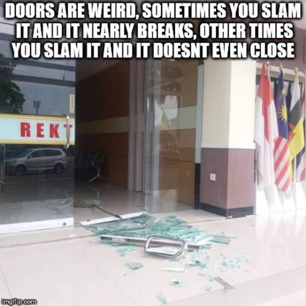 Floor - DOORS ARE WEIRD, SOMETIMES YOU SLAM ITAND IT NEARLY BREAKS, OTHER TIMES YOU SLAM IT AND IT DOESNT EVEN CLOSE REK ingflip.com