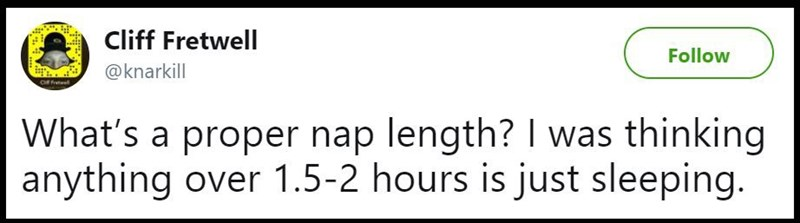 """Tweet that reads, """"What's a proper nap length? I was thinking anything over 1.5-2 hours is just sleeping"""""""