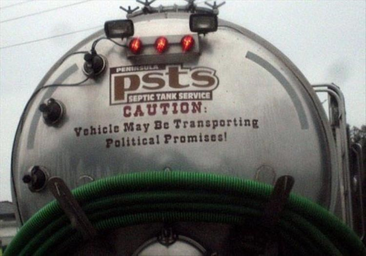 Compact car - PENSULA PSts SEPTIC TANK SERVICE CAUTION Vehicle May Be Transporting Political Promises!