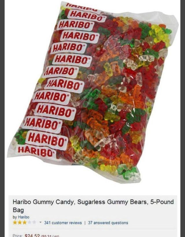 amazon review about Sugarless Gummy Bears, 5-Pound Bag by Haribo 341 customer reviews | 37 answered questions Price: $24 52 /s031o