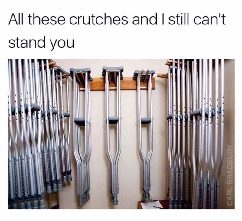 meme - Product - All these crutches and I still can't stand you CARL BRADEBURY