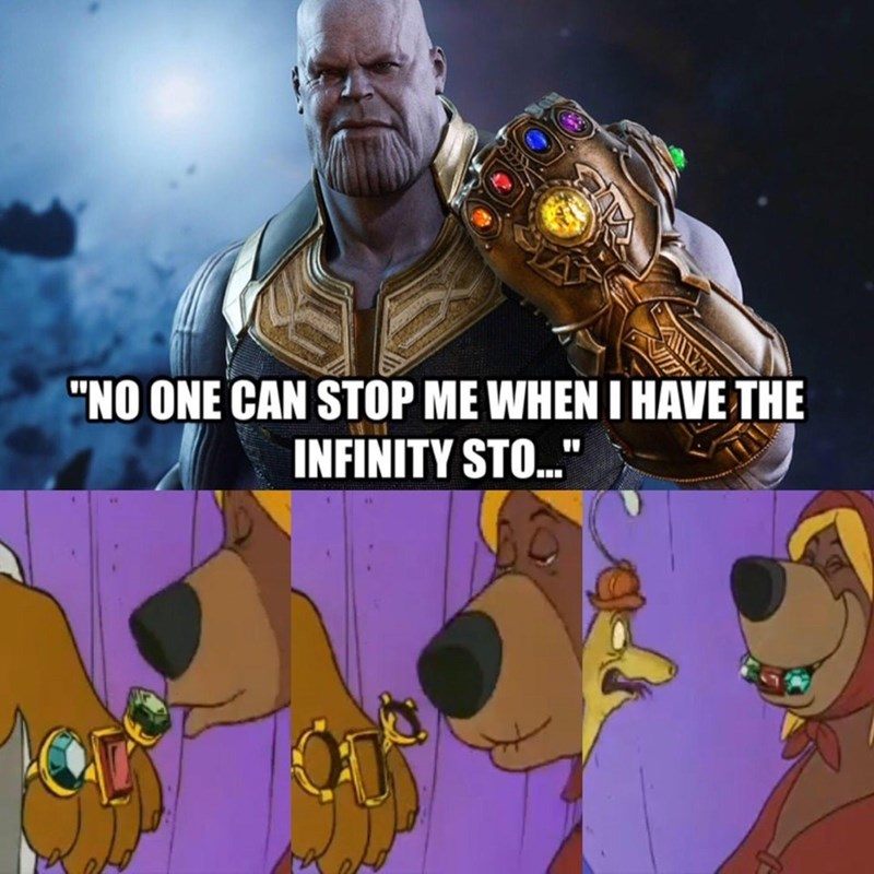 """Cartoon - """"NO ONE CAN STOP ME WHEN I HAVE THE INFINITY STO.."""""""