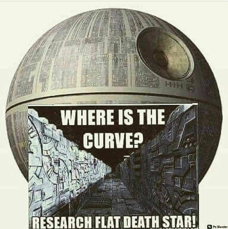 Funny meme about the death star, flat death star theory, star wars