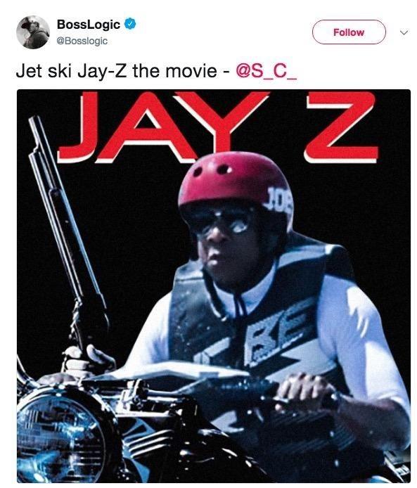 Jet Ski Jay Z movie poster with Jay Z holding a gun on his jet ski
