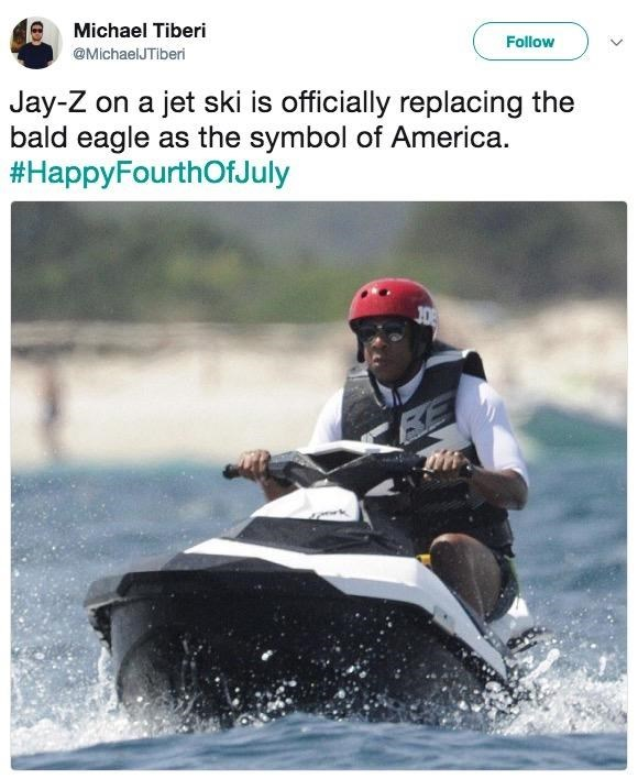 """Jay Z on a jet ski is officially replacing the bald eagle as the symbol of America"""