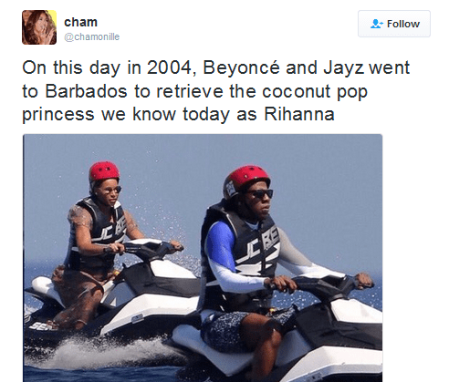 """Beyonce and Jay Z on jet skis with the caption, """"On this day in 2004, Beyonce and Jay-Z went to Barbados to retrieve the coconut pop princess we know today as Rihanna"""""""