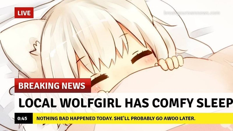 Face - breakyourownnews.com LIVE BREAKING NEWS LOCAL WOLFGIRL HAS COMFY SLEEP NOTHING BAD HAPPENED TODAY. SHE'LL PROBABLY GO AWOO LATER. 0:45 y y