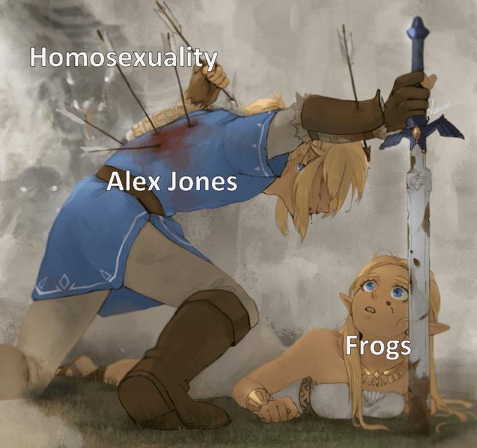 Cartoon - Homosexuality Alex Jones Frogs