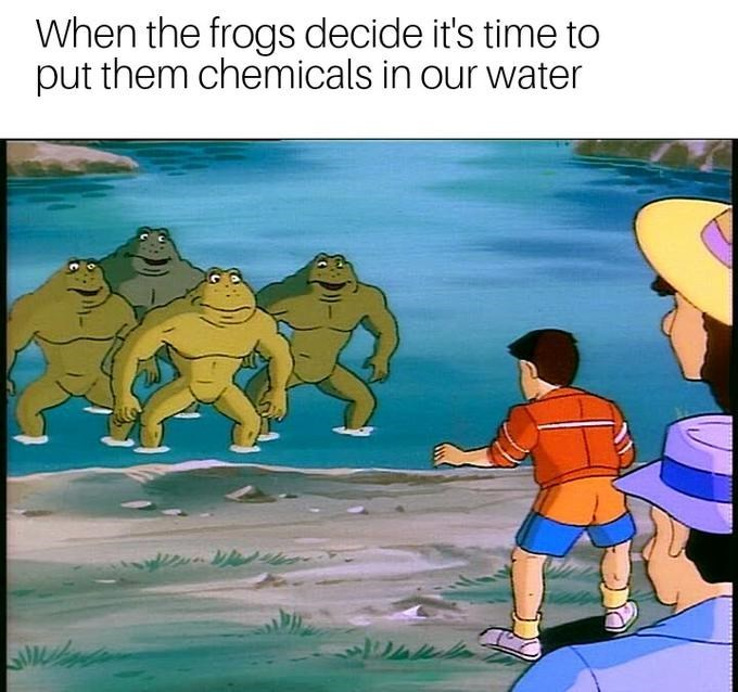 Animated cartoon - When the frogs decide it's time to put them chemicals in our water
