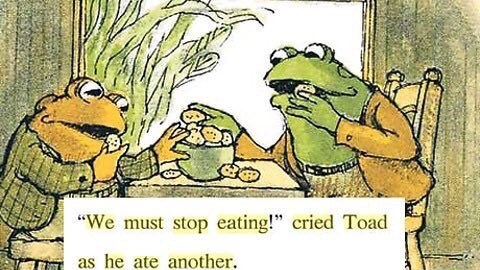"Pic from a children's book of two toads eating, with the text, ""We must stop eating!"" cried Toad as he ate another"