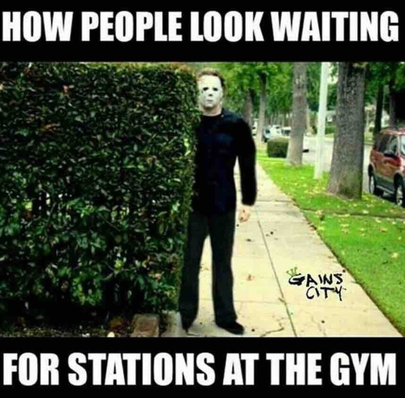 Photo caption - HOW PEOPLE LOOK WAITING GAWS CTY FOR STATIONS AT THE GYM