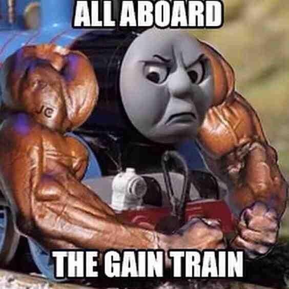 Animated cartoon - ALL ABOARD C THE GAIN TRAIN