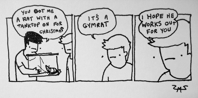 Cartoon - You GoT ME A RAT WITH A TANKTOP ON FoR CHRISTMAS ITS A GYMRAT HOPE HE WORKS oUr FOR YOU