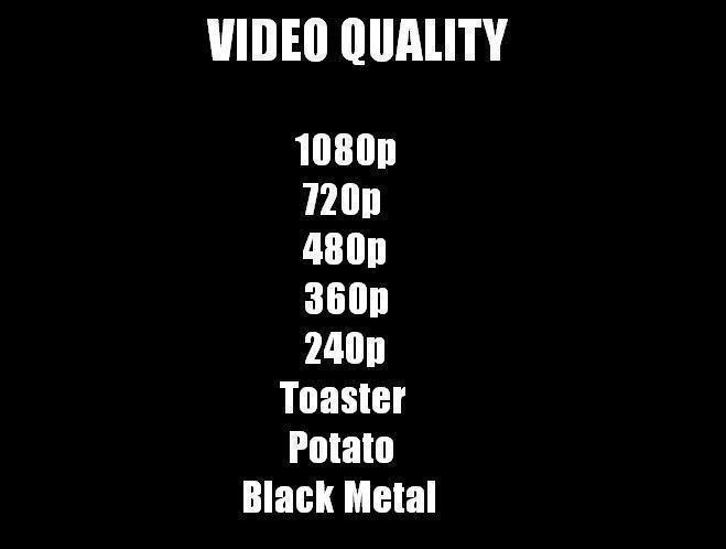 Text - VIDEO QUALITY 1080p 720p 480p 360p 240p Toaster Potato Black Metal