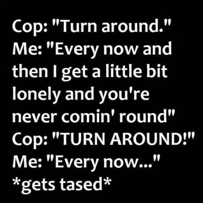 """music meme - Text - Cop: """"Turn around."""" Me: """"Every now and then I get a little bit lonely and you're never comin' round"""" Cop: """"TURN AROUND!"""" Me: """"Every no..."""" *gets tased*"""
