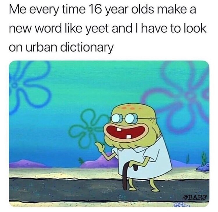 """Me every time 16-year-olds make a new word like yeet and I have to look on Urban Dictionary"""